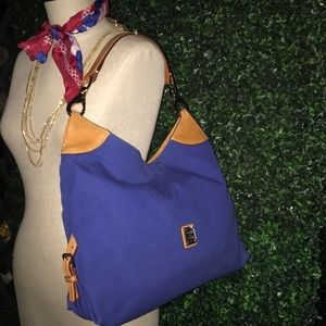 Dooney & Burke blue fabric hobo with leather.